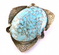 Vintage Miracle Faux Turquoise Triangular Shaped Brooch.